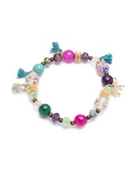 Lonna And Lilly Turquoise Agate Beaded Stretch Bracelet Multi