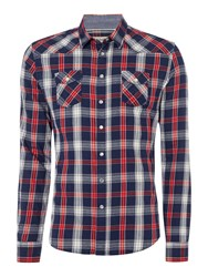 Red Soul Shirt Checked With Two Pockets Navy