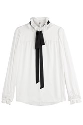 Paule Ka Silk Blouse With Ribbon White