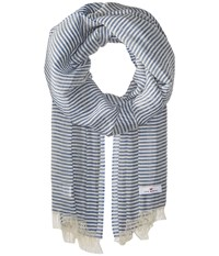 Love Quotes Linen Cotton Narrow Stripe Denim White Scarves Blue