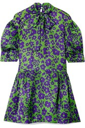 Miu Miu Pussy Bow Silk Jacquard Mini Dress Green