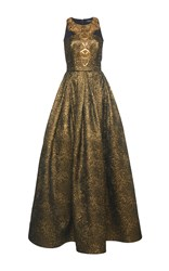 Andrew Gn Sleeveless Gown With Beading Gold