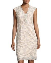 Nicole Miller New York Plunging V Neck Lace Sheath Cocktail Dress Beige