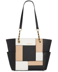 Calvin Klein Saffiano Leather Tote Black White Nude Patchwork