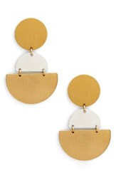 Sole Society Tiered Geo Statement Earrings Gold