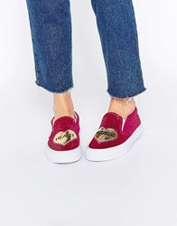 Asos Delores Heart Breaker Trainers Pink And Gold