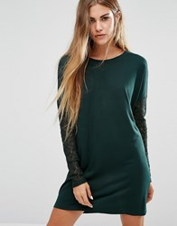 Jdy Knit Jumper Dress With Lace Sleeves Scarab Green