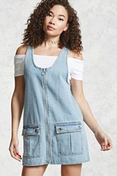 Forever 21 Denim Overall Dress Light Denim