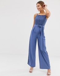 Little Mistress Square Neck Jumpsuit With Lace Leg Inserts In Blue