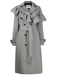 Msgm Ruffled Houndstooth Coat Grey
