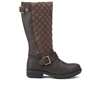 Barbour International Women's Fireblade Leather Biker Boots Brown