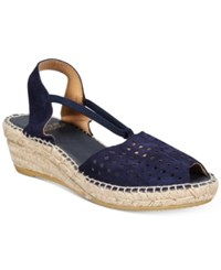 Andre Assous Corrine Wedge Sandals Navy Suede