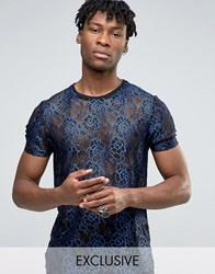 Reclaimed Vintage Lace T Shirt Blue