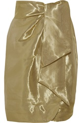 Issa Draped Metallic Taffeta Wrap Skirt