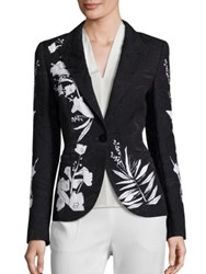 Escada Printed One Button Blazer Black White
