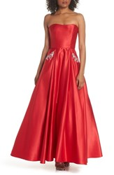 Blondie Nites Embellished Strapless Ballgown Red