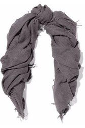 Chan Luu Fringed Metallic Cashmere And Silk Blend Gauze Scarf Taupe