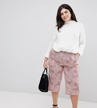 Ax Paris Plus Mix And Match Floral Cropped Trousers Red Mix Match Floral Multi