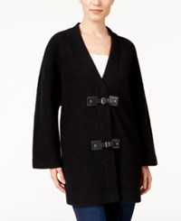 Jm Collection Wool Buckle Front Cardigan Only At Macy's Deep Black