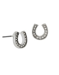 Betsey Johnson Pave Horse Shoe Stud Earring Silver