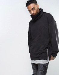 Asos Oversized Funnel Neck Hoodie With Double Layer And Side Zips Black