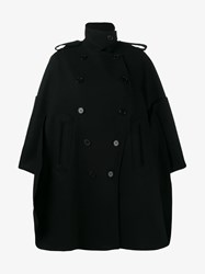 Valentino Virgin Wool Cape Jacket Black Red