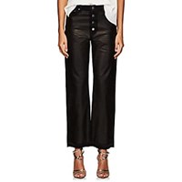 Amiri Leather And Denim Crop Straight Jeans Black