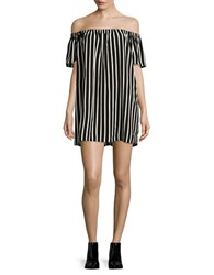 French Connection Striped Crepe Light Dress Black Cream