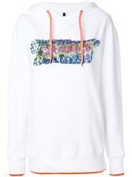 Versus Sequin Embellished Hoodie Cotton Polyester White