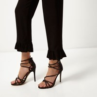 River Island Womens Black Glitter Wide Fit Caged Sandals