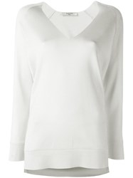 Lanvin Collarless V Neck Jumper Nude Neutrals