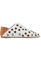 Acne Studios Mika Crystal Embellished Leather Loafers Off White