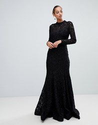 Forever Unique Lace High Neck Maxi Dress Black
