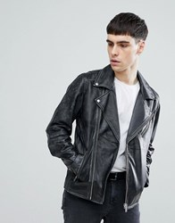 Selected Homme Distressed Leather Biker Jacket Black