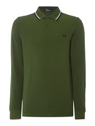 Fred Perry Men's Long Sleeve Twin Tipped Polo Shirt Olive