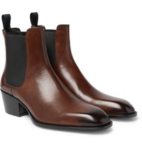 Tom Ford Webster Burnished Leather Chelsea Boots Brown