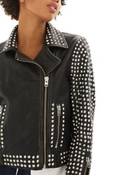 Topshop Women's Frazey Stud Biker Leather Jacket Black
