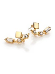 Elizabeth And James Lewitt White Sapphire Ear Jacket And Stud Earrings Set Gold