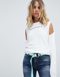 Miss Sixty Exposed Shoulder Knit With Logo White