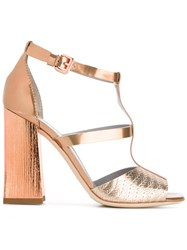 Pollini Ankle Length Sandals Metallic