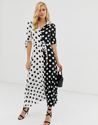 Zibi London Polka Dot Maxi Shirt Dress Multi