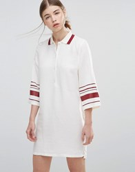 Wood Wood Caitlin Dress With Striped Sleeves Pristine White