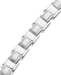 Macy's Men's Stainless Steel Bracelet Diamond Square Link 3 4 Ct. T.W.