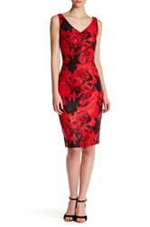 David Meister Floral V Neck Sheath Dress Red
