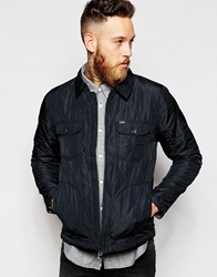 Lee Quilted Jacket Coated Zip Front Black