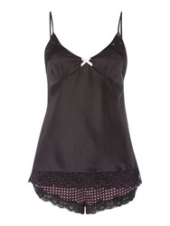 Lipsy Lace Cami Top And Dotty Short Black
