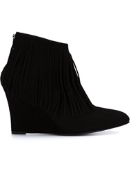 Elysewalker Los Angeles Fringe Heel Booties Black