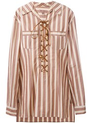 Romeo Gigli Vintage Lace Up Striped Tunic Shirt Nude And Neutrals