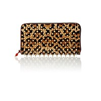 Christian Louboutin Women's Panettone Zip Around Wallet Brown Silver Brown Silver