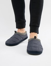 Dunlop Quilted Fleece Lined Slip On Slipper Navy